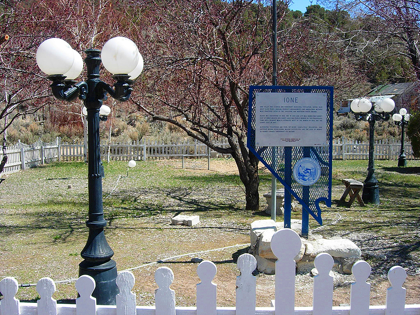 [159] The SHPO decided to place this marker in the center of town at the Little Gold Diggers Claim, a small and county park maintained by the residents of Ione and Nye County Parks.